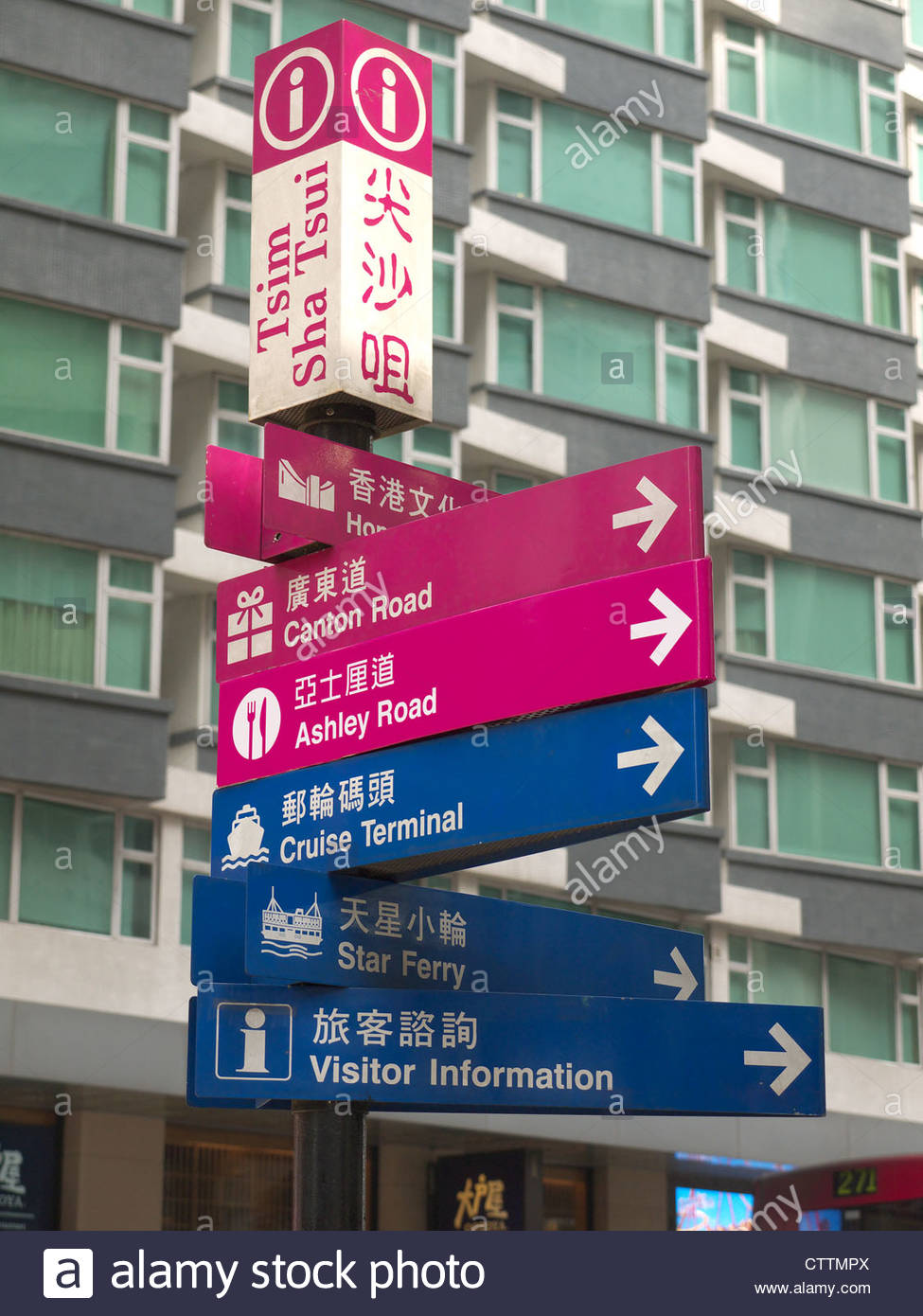 Direction signs in Tsim Sha Tsui Hong Kong - Stock Image