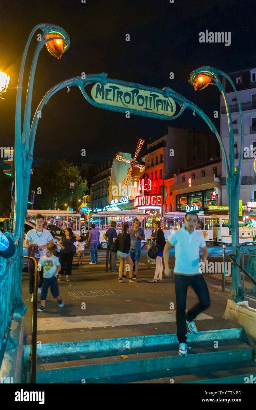 Paris, France, Pigalle Area, at Night, Old Paris Metro Sign, Blanche Station, Montmartre - Stock Image
