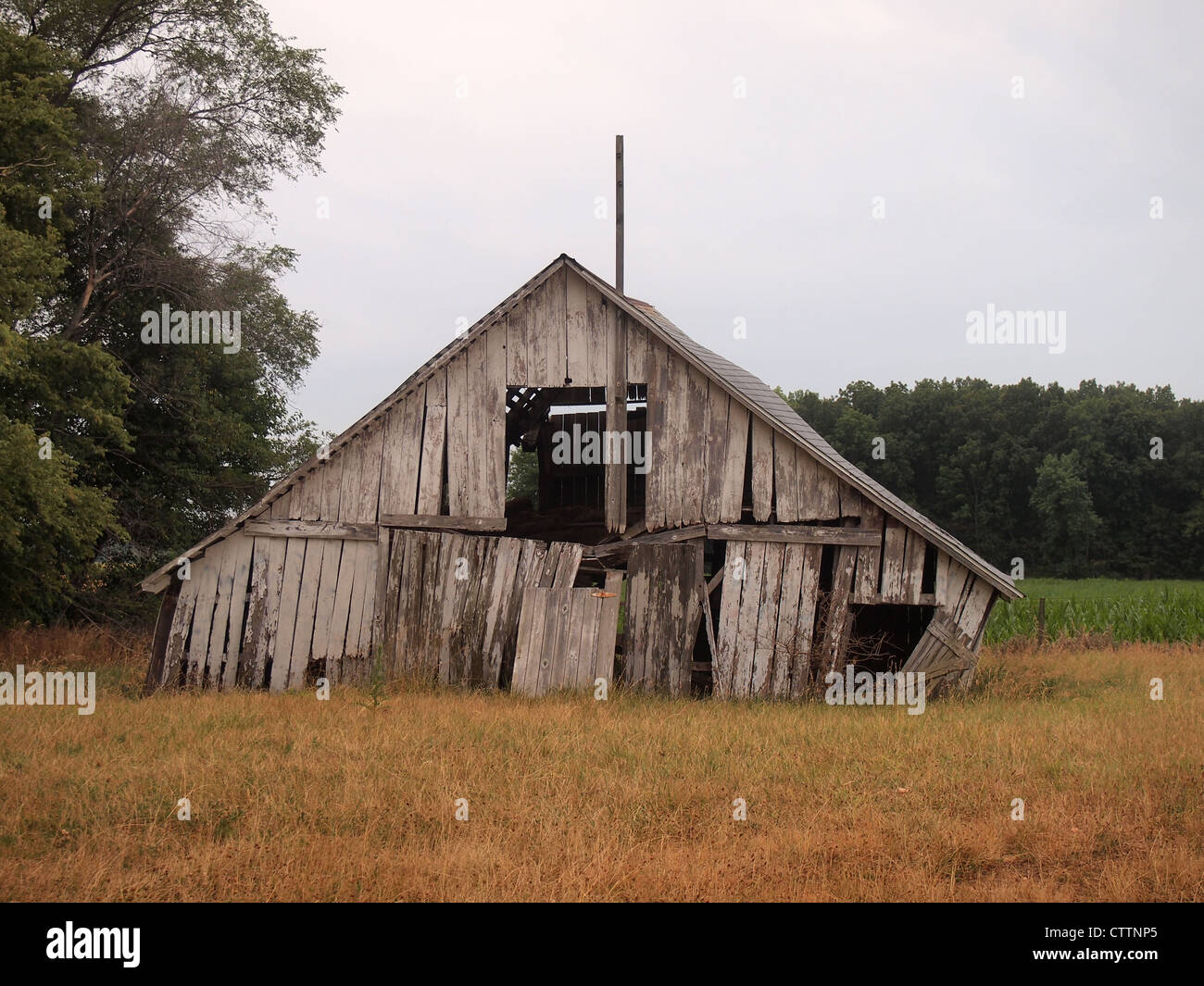 Abandoned and neglected barn in Johnson County, Indiana, USA, July 8, 2012, © Katharine Andriotis - Stock Image