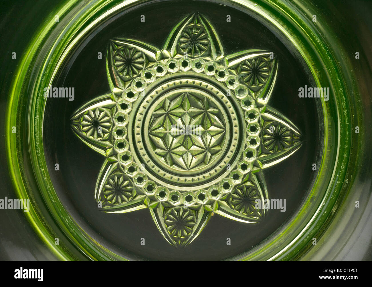 Bottom of a Ranson 'gold band' Vaseline 'uranium glass' round covered butter dish produced by the - Stock Image