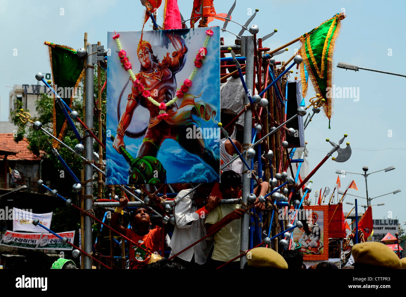 A religious float in Ahmedabad, Gujarat, india during Rathya yatra - Stock Image