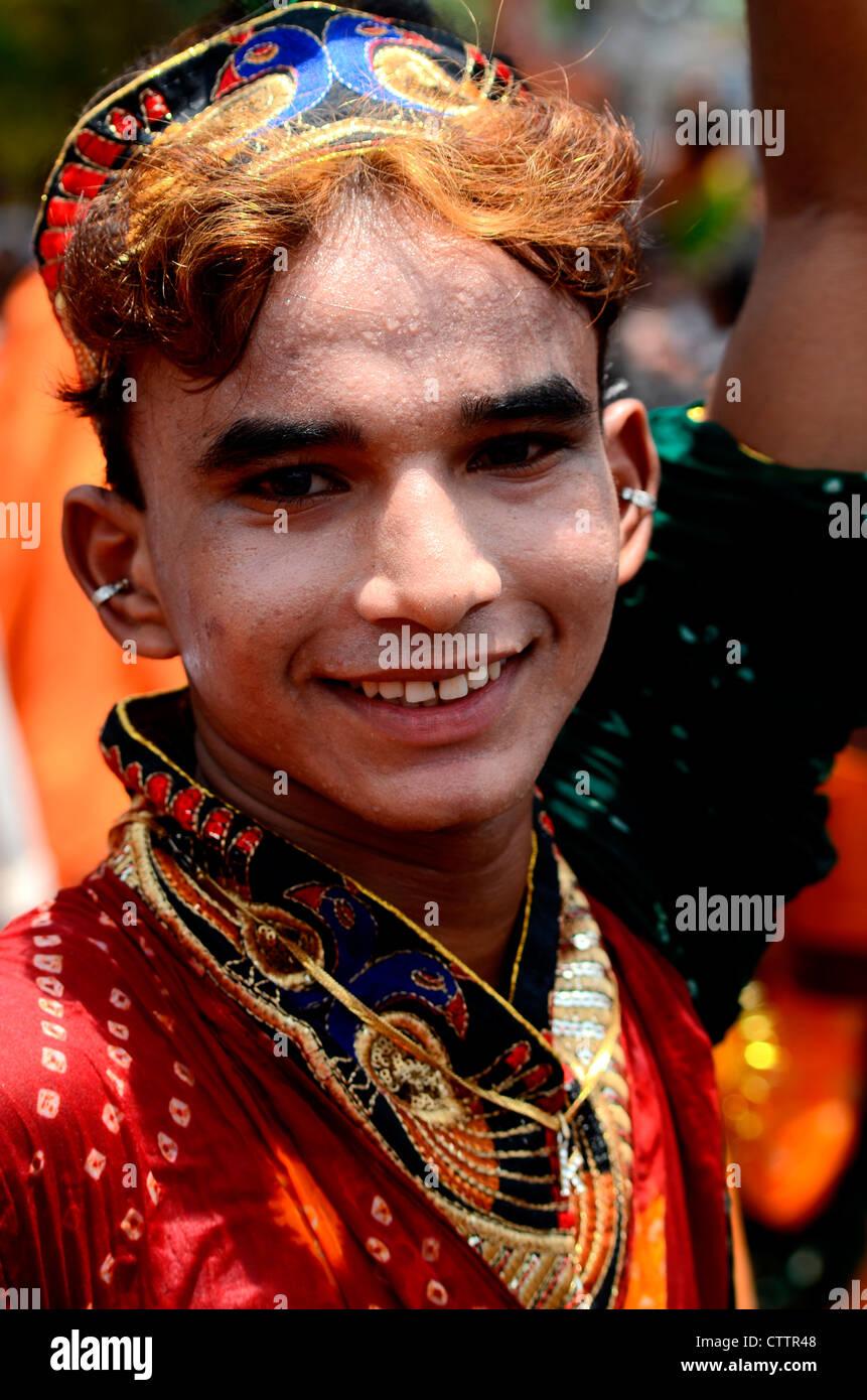 An indian boy acting like an eunuch Stock Photo