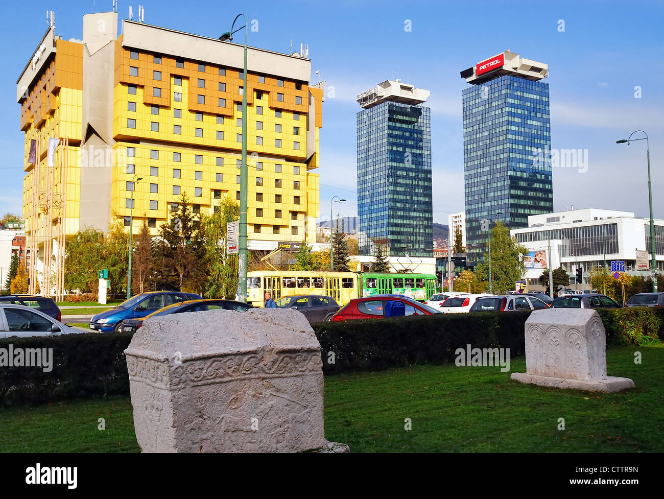Bosnia and Herzegovina, Sarajevo : ' the Snipers Alley', the Holliday Inn completely restored and the two - Stock Image