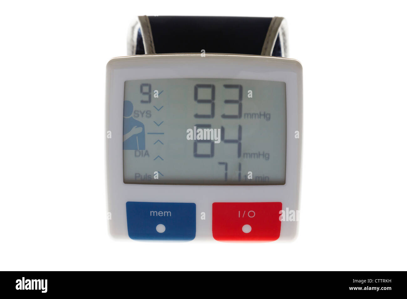 Personal home blood pressure monitor with wristband showing low systolic diastolic and heart rate values on LCD - Stock Image