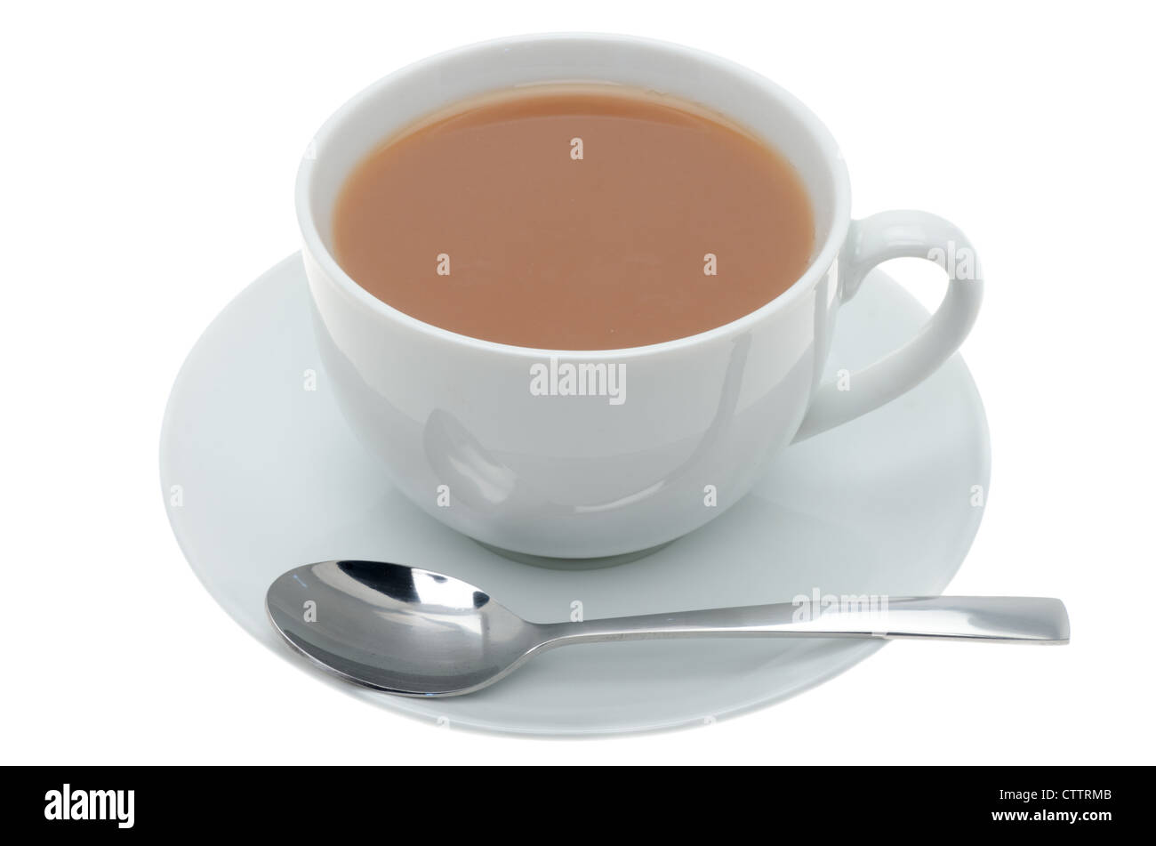 A cup of tea in white china crockery with a teaspoon - studio shot with a white background - Stock Image