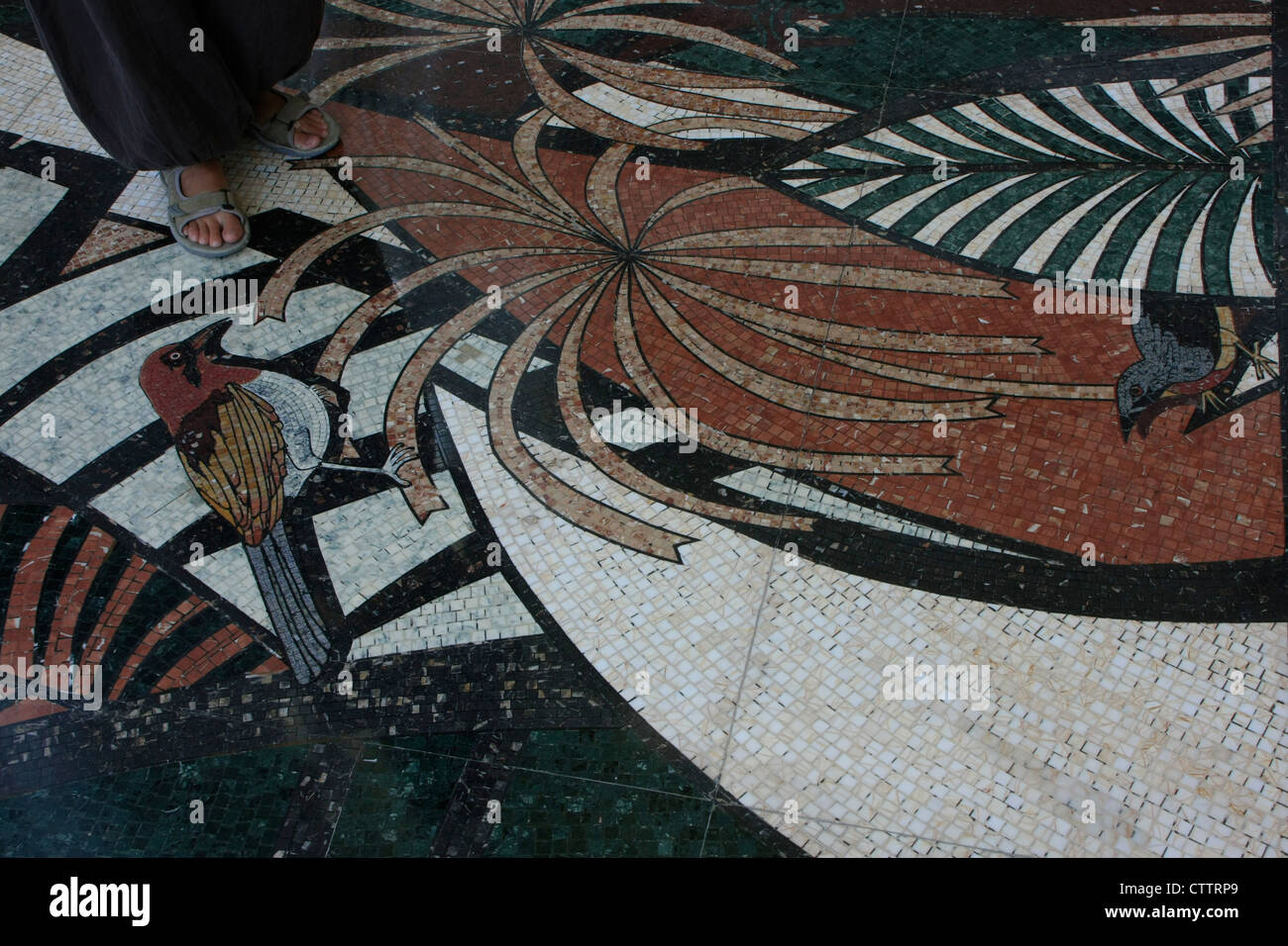 Floor mosaic, Empire Hotel and Country club, Brunei, Southeast Asia - Stock Image
