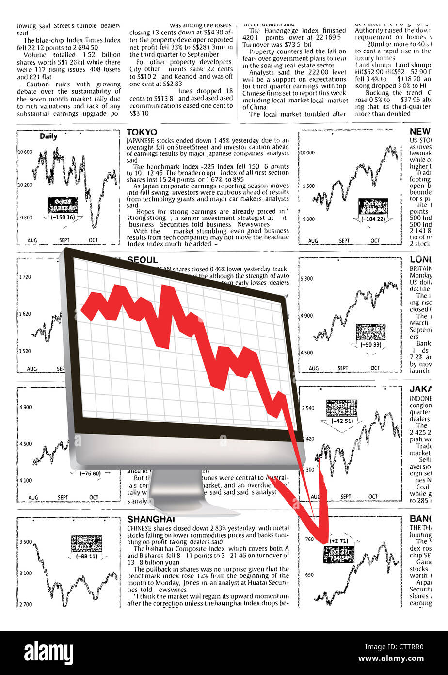financial crash, with fake financial news background. - Stock Image