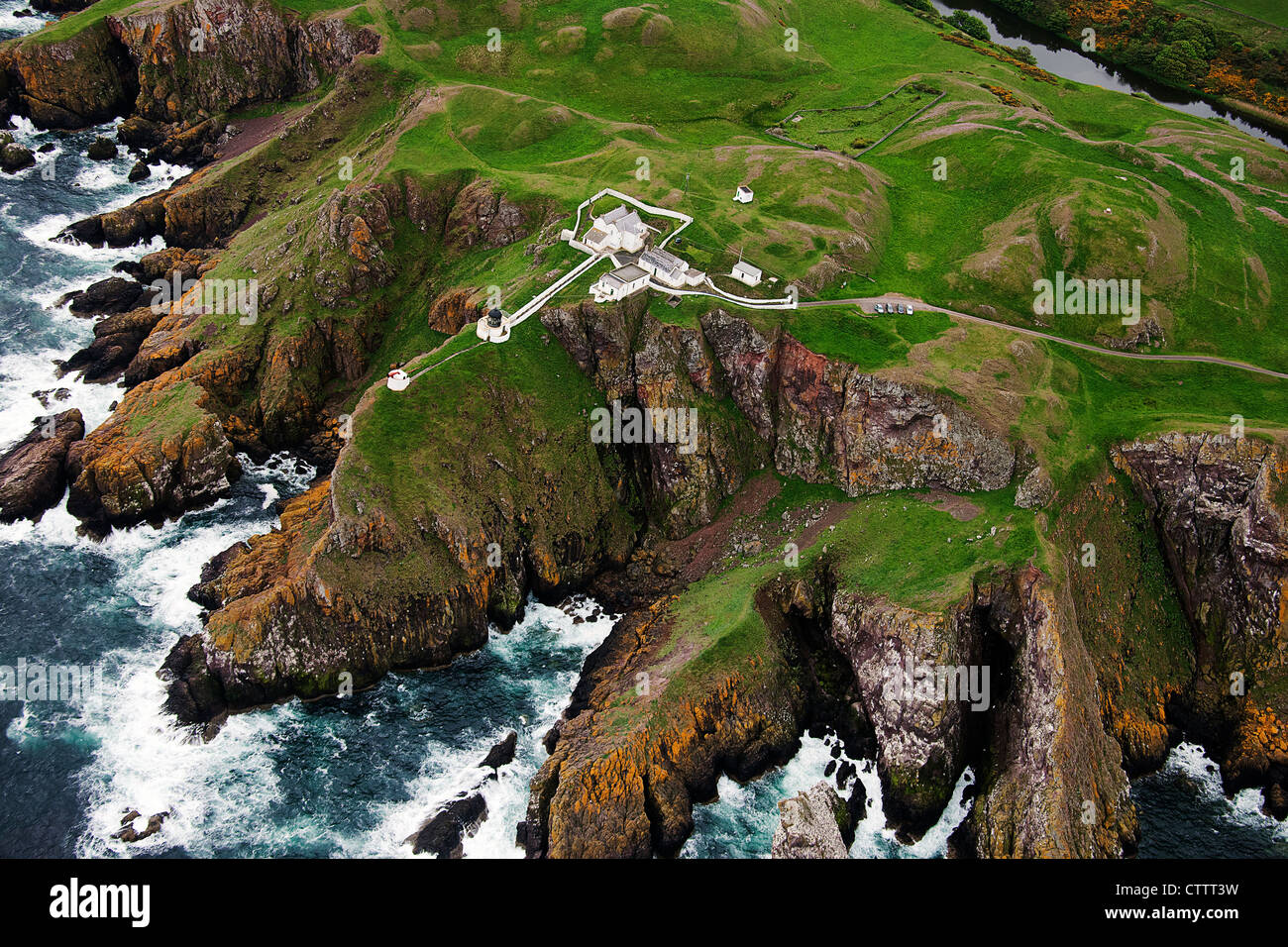 St Abbs lighthouse and fog horn. Berwickshire - Stock Image