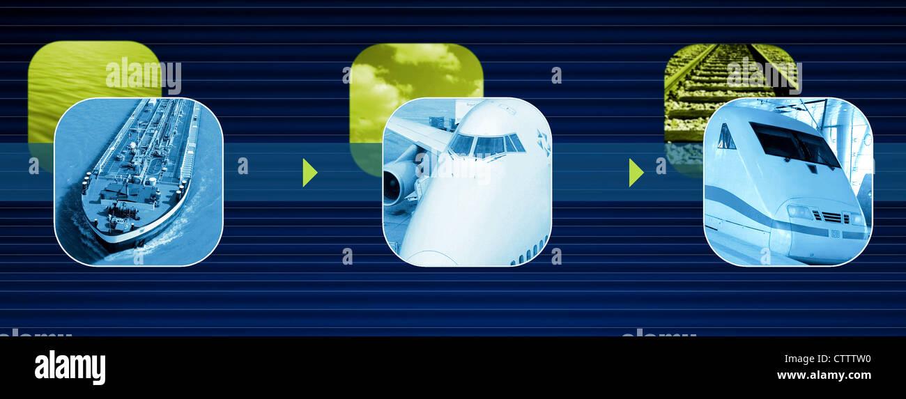 Composing aus Aufnahmen eines Transportschiffs, Flugzeug und InterCityExpress Zug - Stock Image