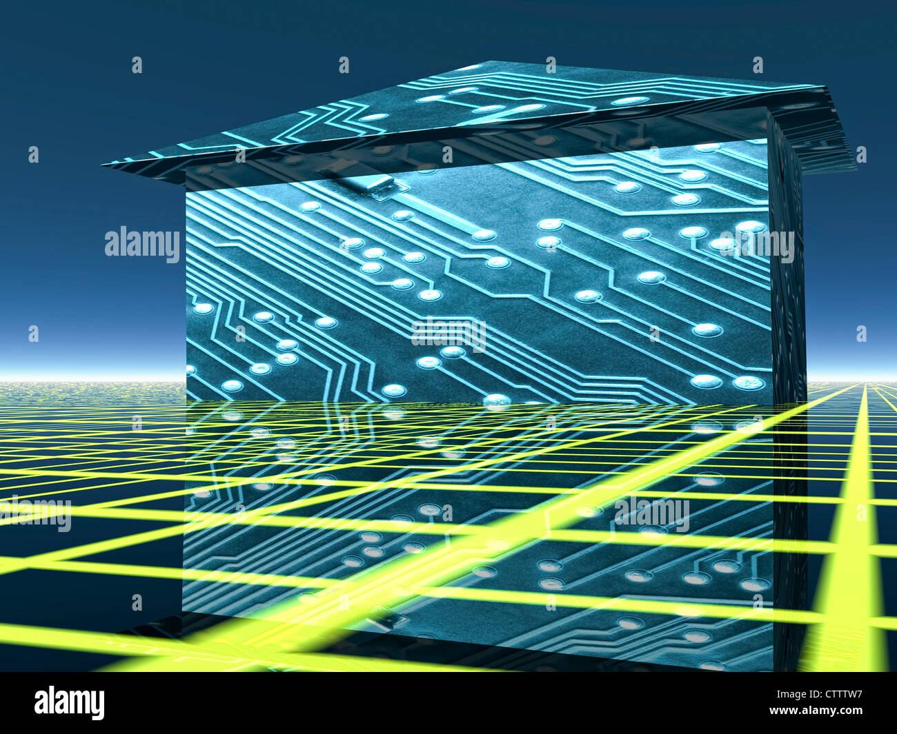 Intelligentes Haus mit Steuerung - EIB, Smart Grid Stock Photo