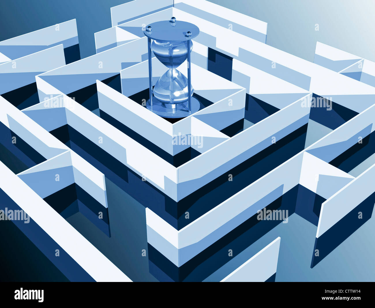 Labyrinth mit Sanduhr Stock Photo