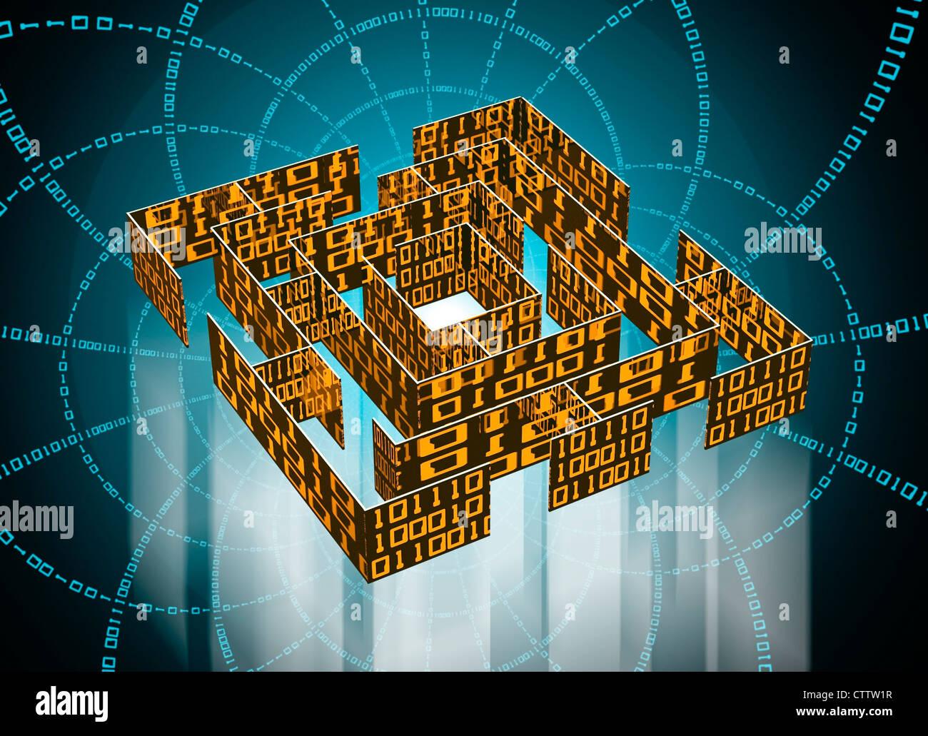 Labyrinth mit Datenkolonnen aus Binärcode Stock Photo