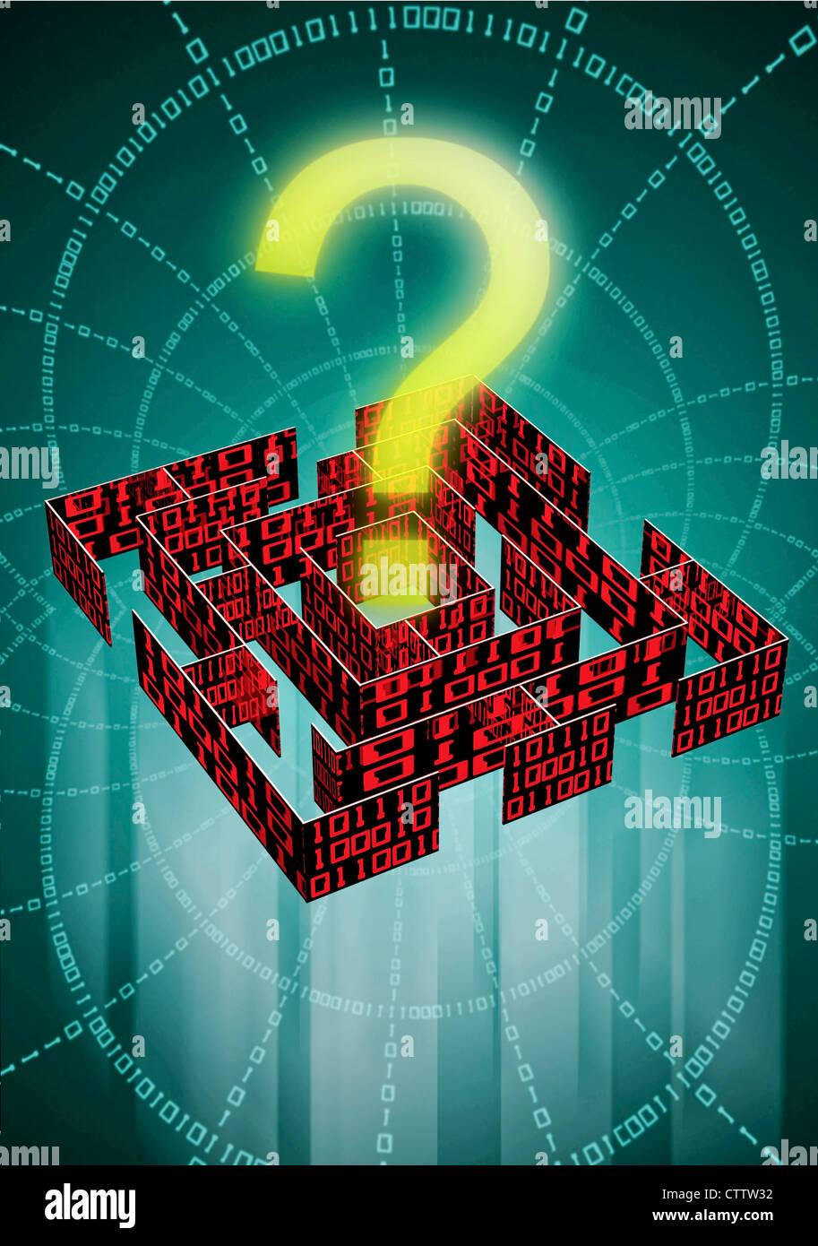 Labyrinth mit Fragezeichen und Datenkolonnen - Stock Image