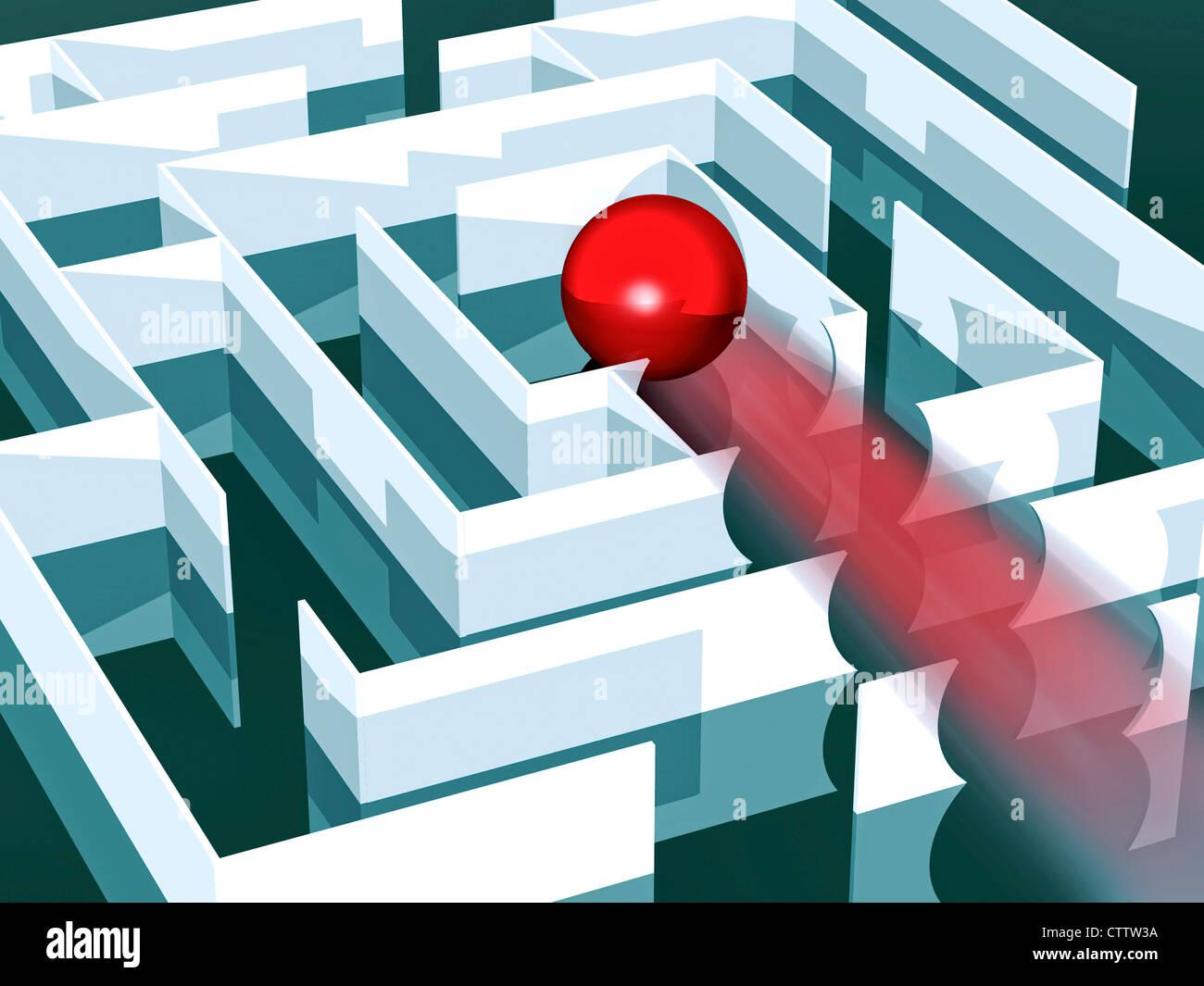 Labyrinth mit roter Kugel, die alle Wände zur Mitte hin durchbricht Stock Photo
