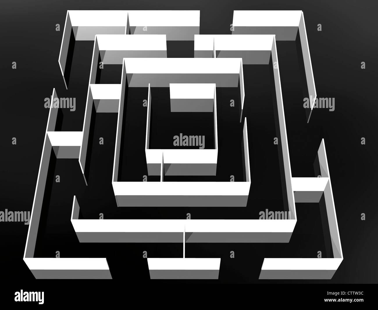 Weisses Labyrinth auf schwarzem Untergrund Stock Photo