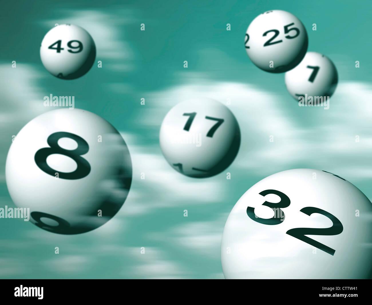 fliegende Lottokugeln - Stock Image