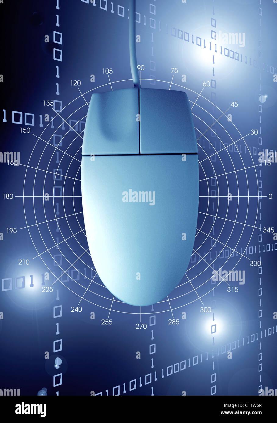 Computermaus vor einem Hintergrund aus digitalen Zahlenreihen  Stock Photo