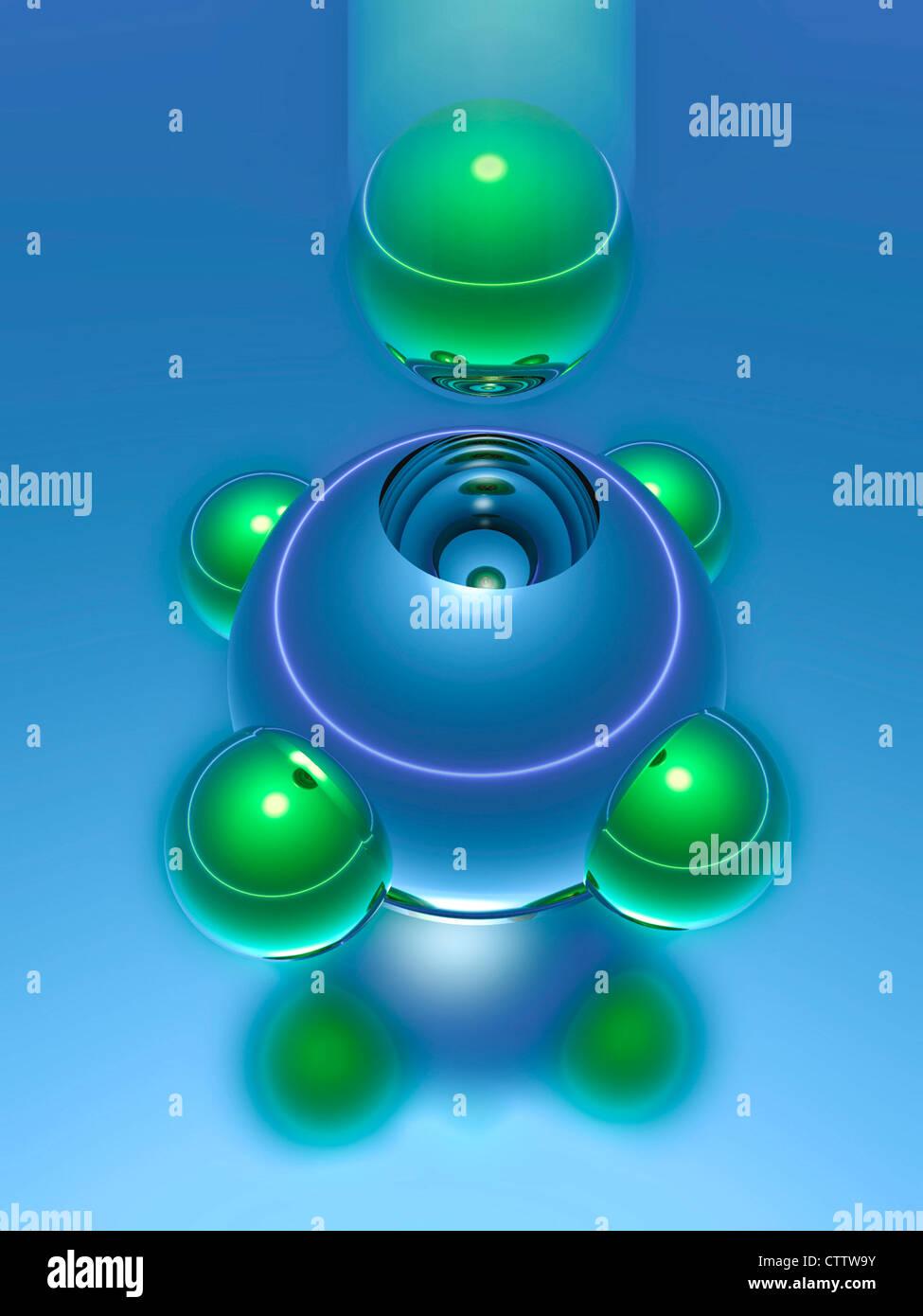 Modul System - modular ineinanderpassende Kugeln - Stock Image