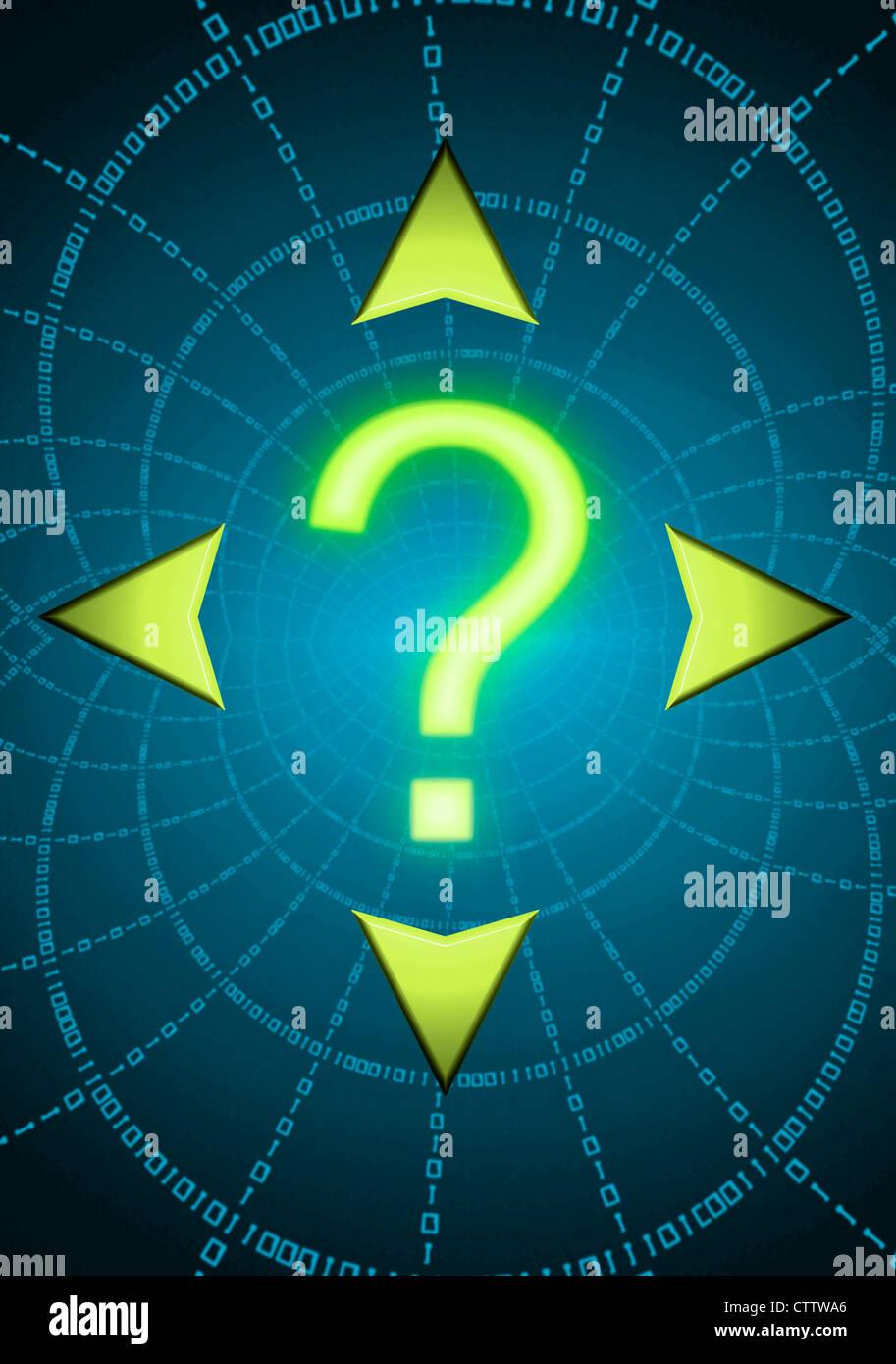 Fragezeichen und Pfeile in 4 Richtungen  - Stock Image