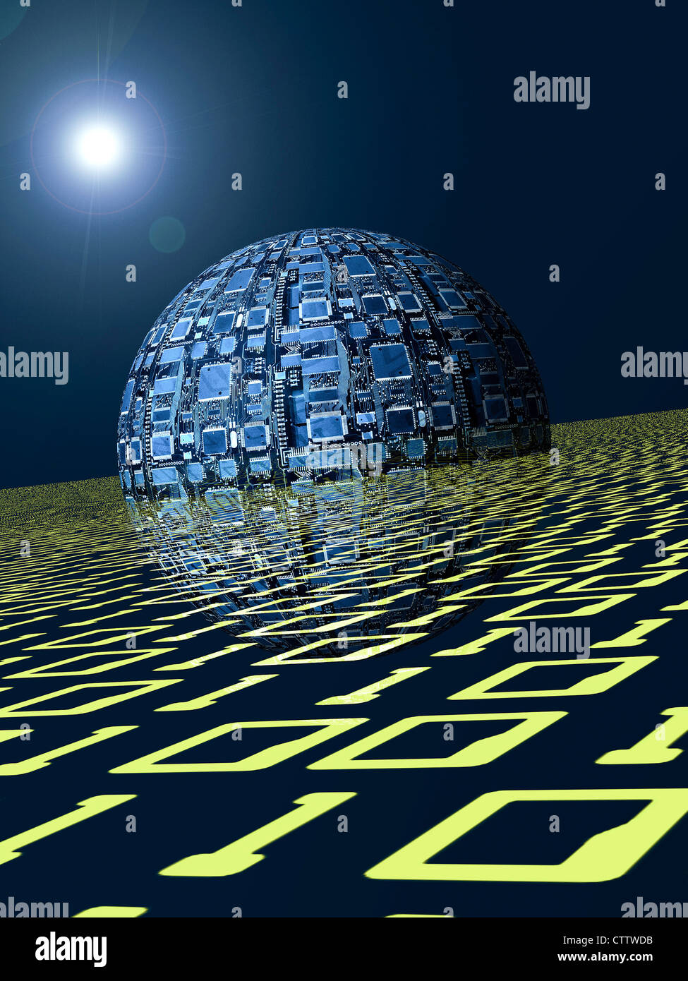 Kugel aus Computerchips in einer Ebene aus binären Zahlen - Stock Image