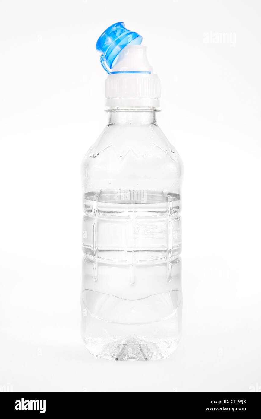 Plastic water bottle on a white background - Stock Image
