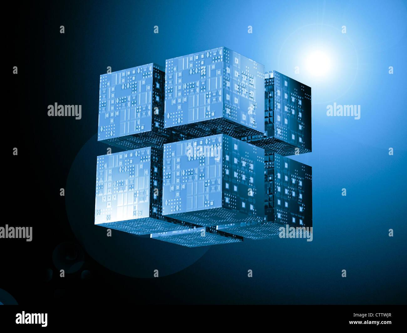 schwebende Würfel bilden einen grösseren Quader mit einer Chipstruktur Stock Photo