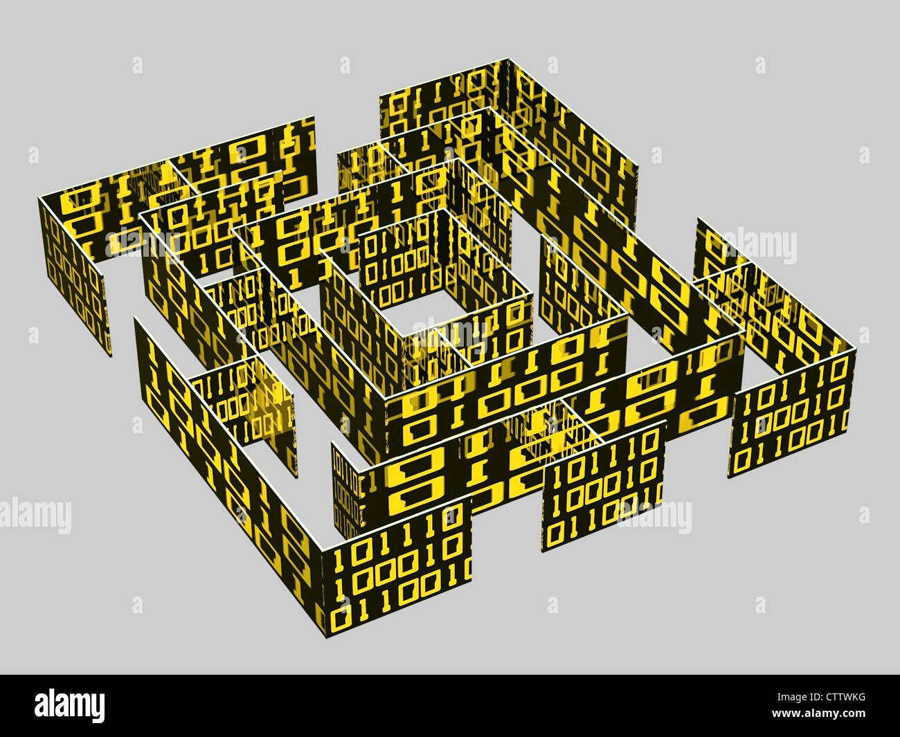 Labyrinth aus binären Daten Stock Photo