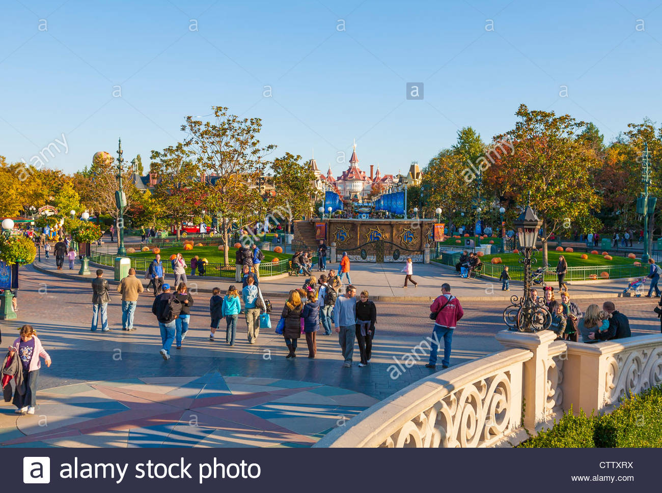 main street usa at halloween, disneyland resort paris, france stock