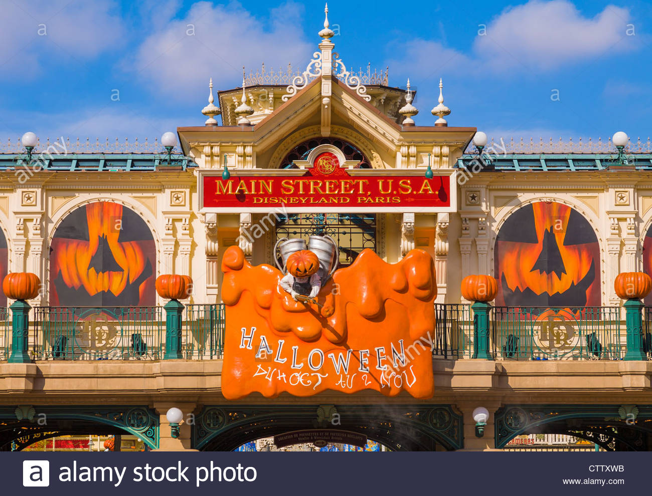 entrance to the disneyland resort paris theme park decorated for halloween france stock image