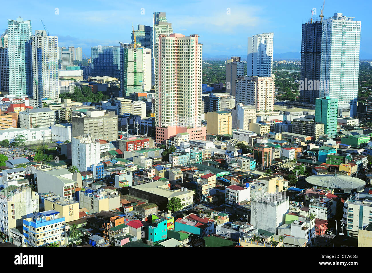 Aerial view on Makati - is one of the 17 cities that make up Metro Manila. Philippines - Stock Image
