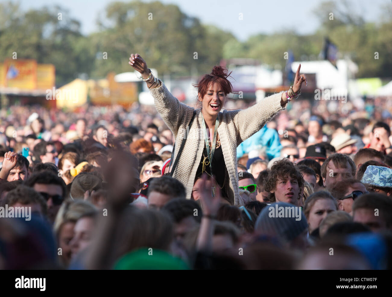 Crowd at a Music Festival - Stock Image