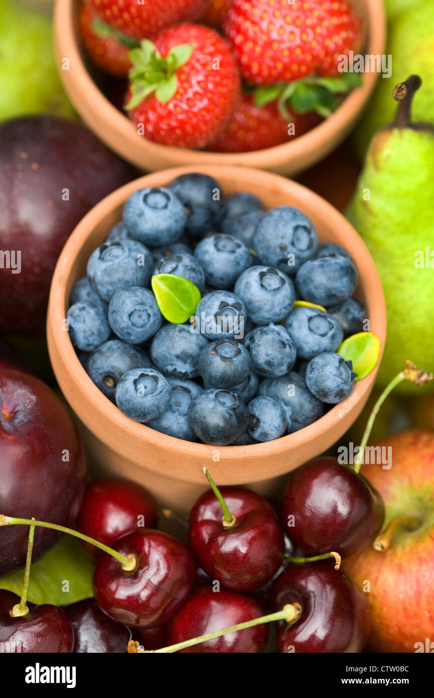 harvest of late summer or autumn English fresh fruit including: blueberries, strawberries, apples, cherries, plums - Stock Image