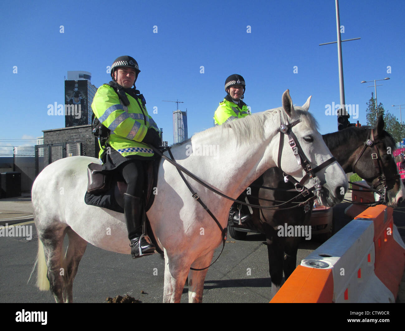 MOUNTED POLICE at the Olympic Park, Stratford, London, in July 2012. Photo Tony Gale - Stock Image