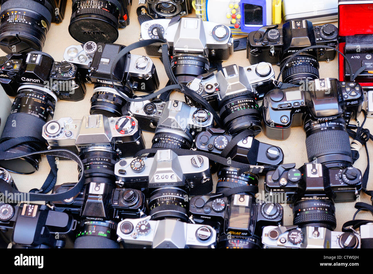 collectible old cameras for sale in El Rastro is the most popular open air flea market in Madrid, Spain - Stock Image