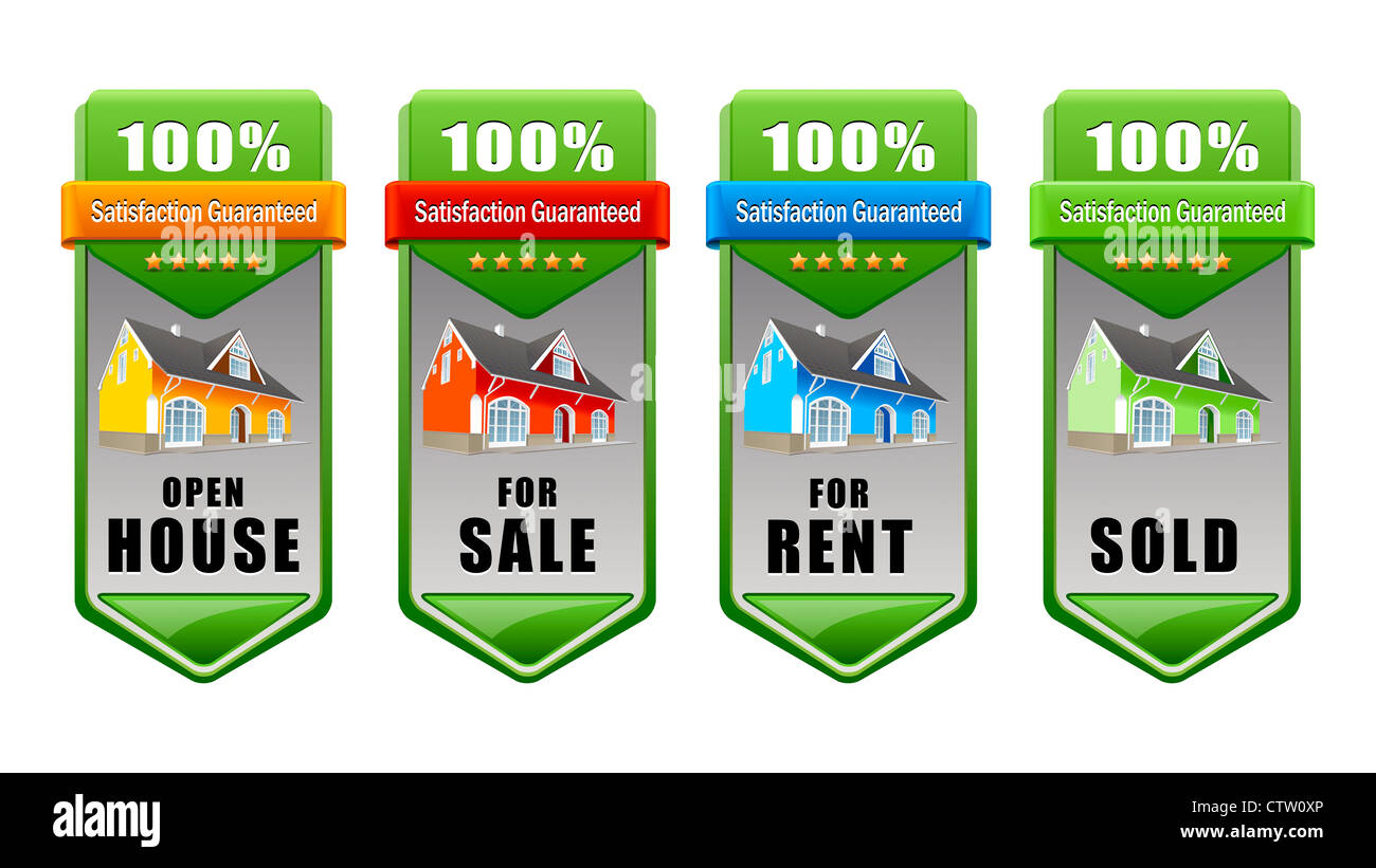 Real Estate Banner Set House For Sale For Rent Sold Open House Stock Photo Alamy