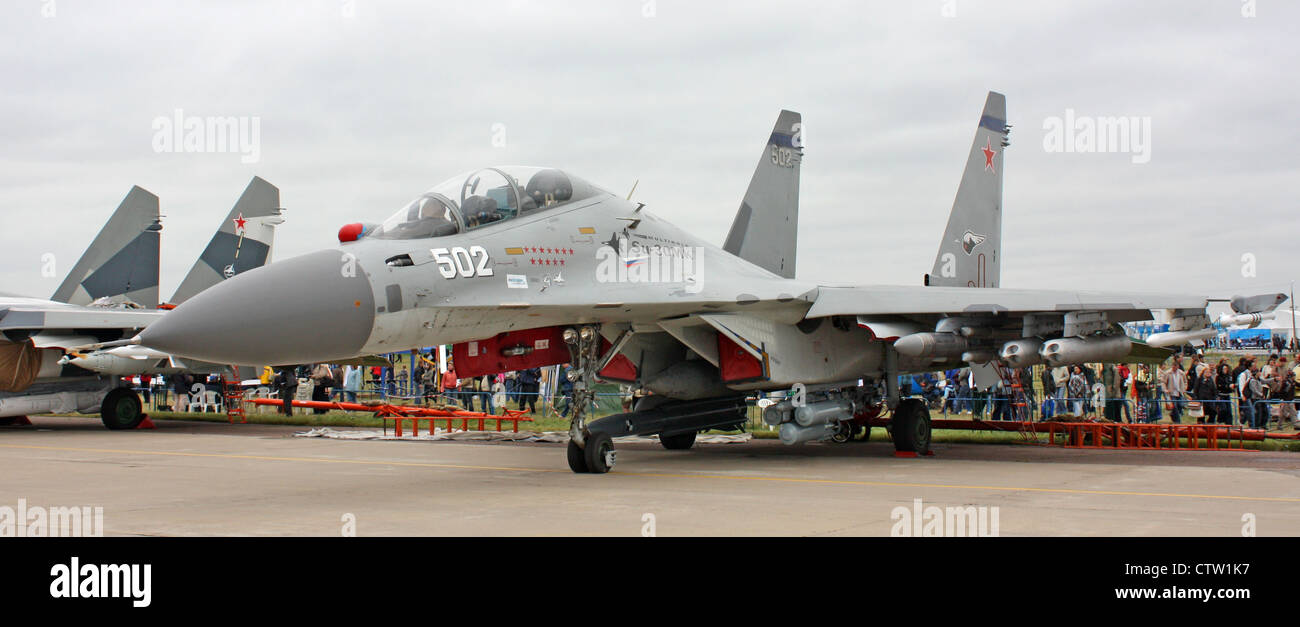 Sukhoi Su-30MK (the international aerospace salon MAKS-2009 - Stock Image