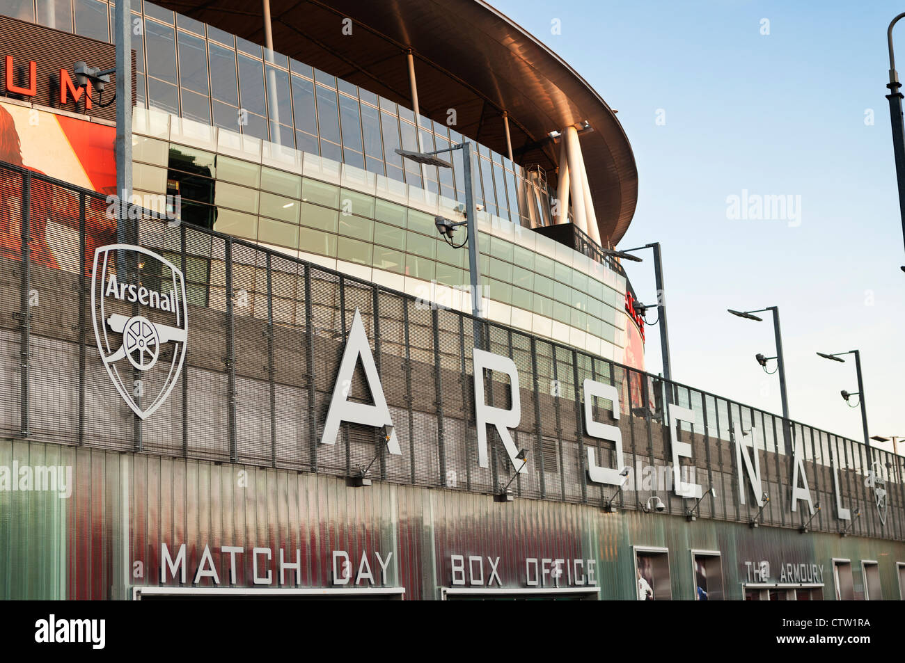 The facade of the Arsenal Emirates football Stadum in Highbury. - Stock Image