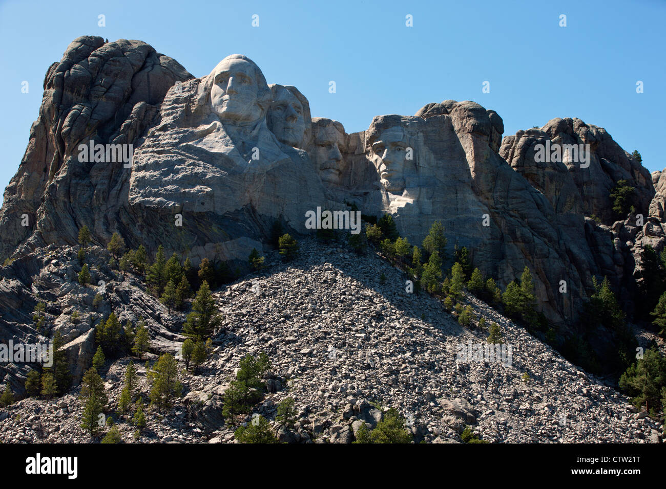 General view Mt. Rushmore with sculptures of former presidents George Washington, Thomas Jefferson, Theodore Roosevelt, Stock Photo