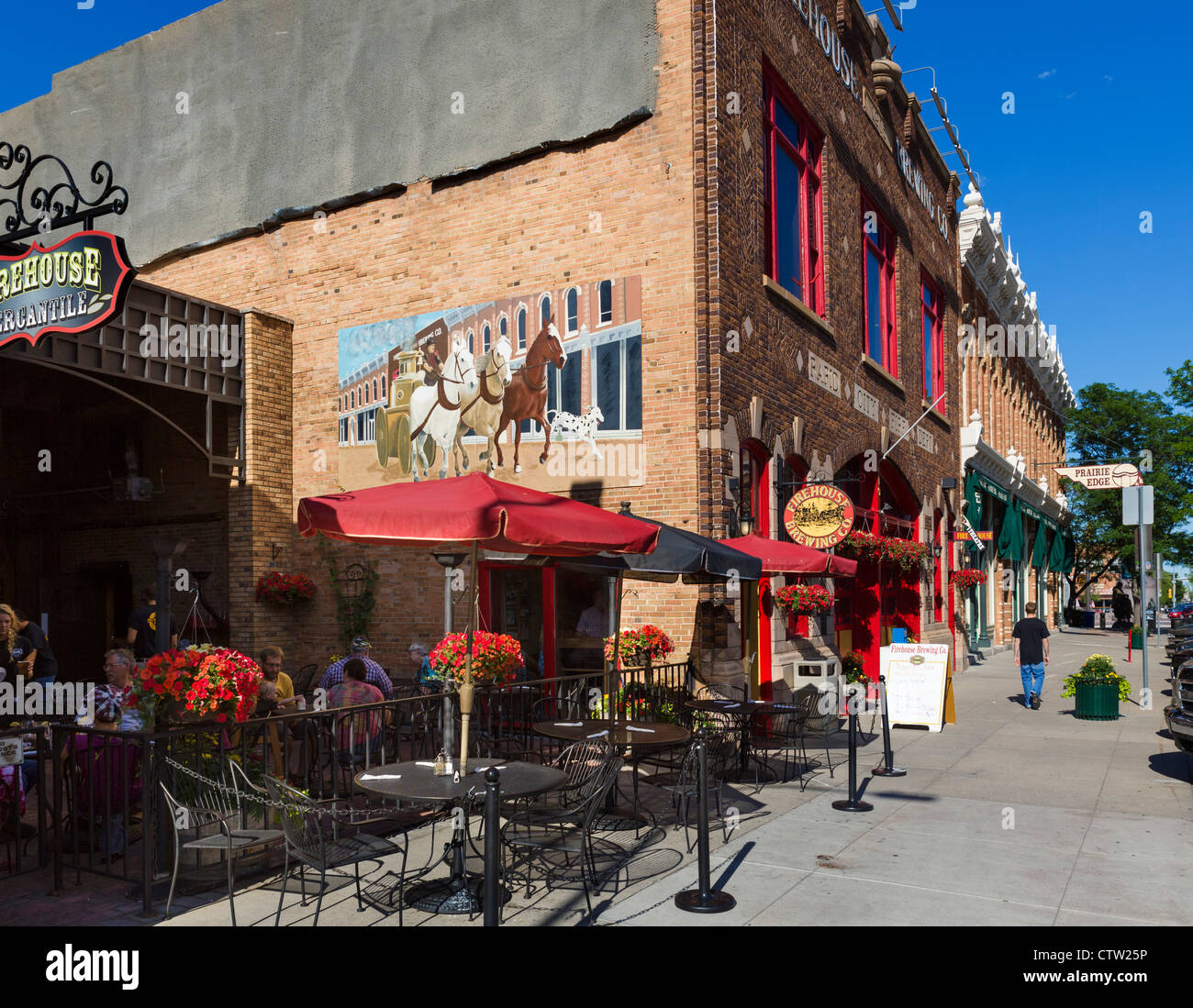 The Firehouse Brewing Co bar and brewery on Main Street in downtown Rapid City, South Dakota, USA - Stock Image