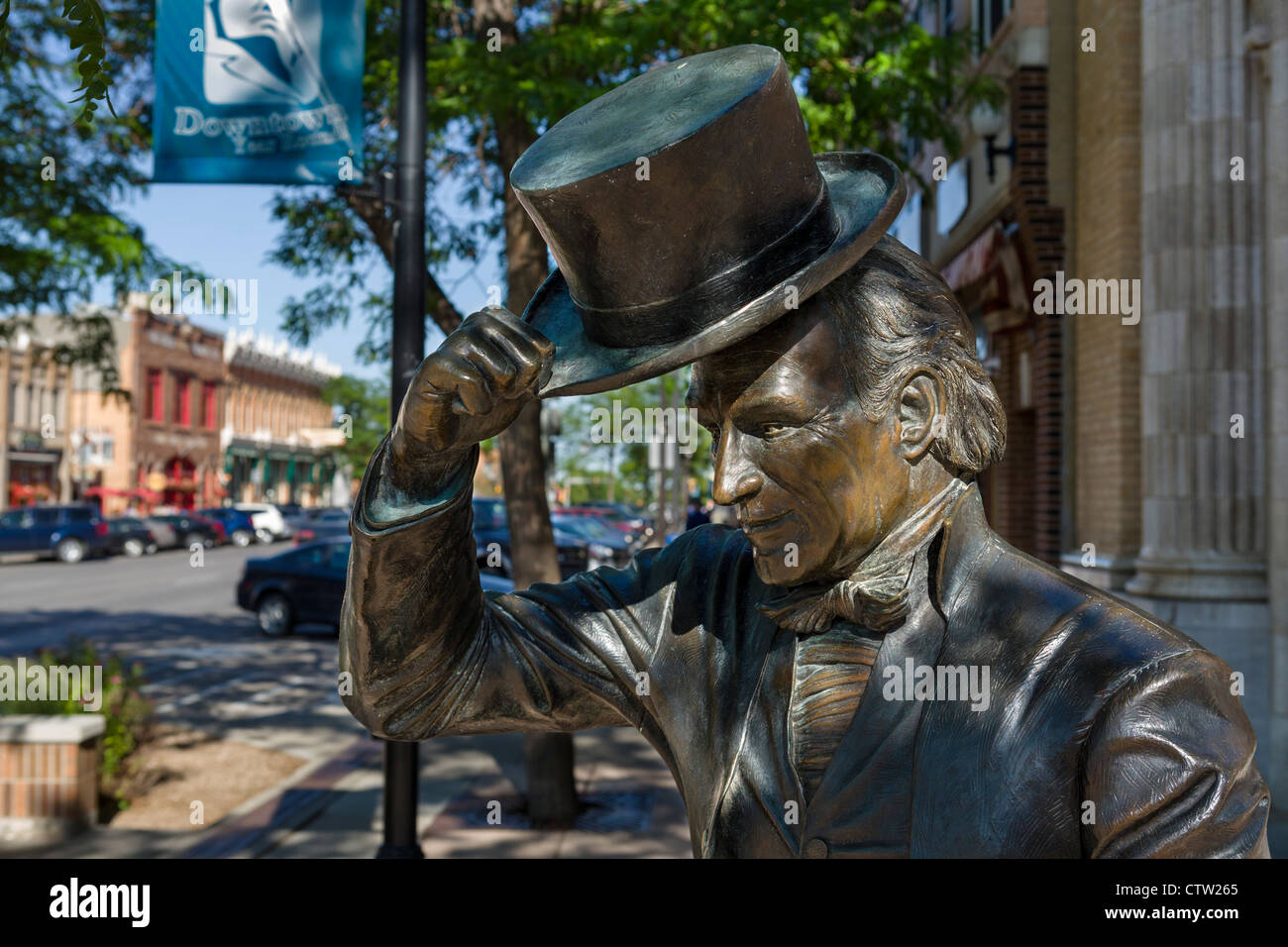 Statue of President James Monroe, one of a series of bronze statues of US presidents in downtown Rapid City, South - Stock Image