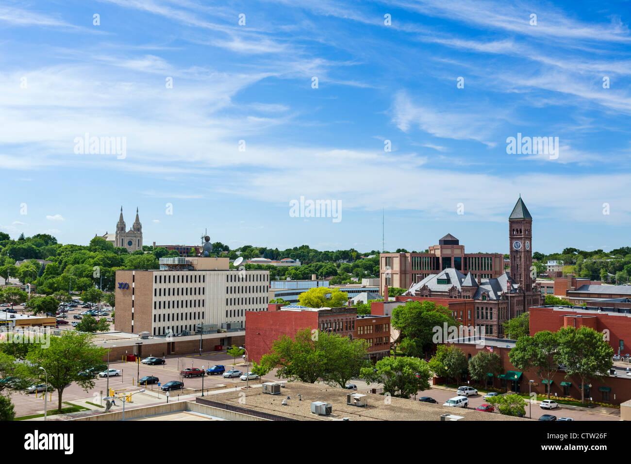 View over downtown Sioux Falls, South Dakota, USA - Stock Image