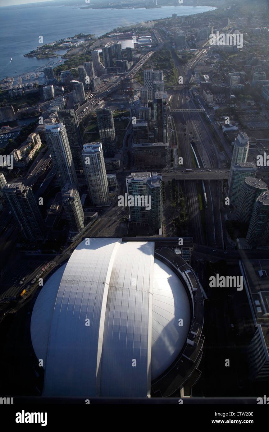 Toronto 2012, Toronto City Skyline Looking West With The Rogers Centre Formerly Known As Skydome In The Foreground - Stock Image