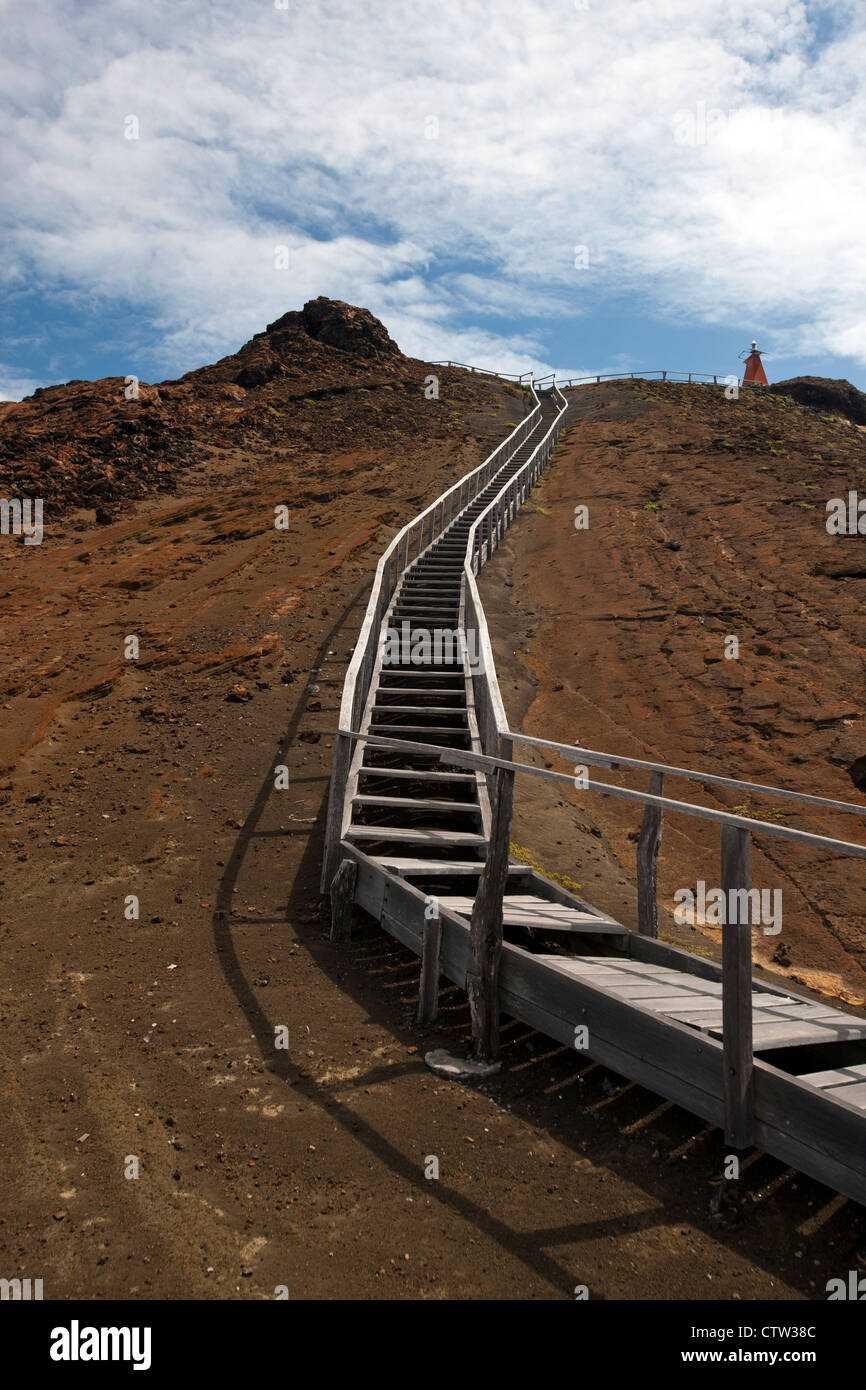 Boardwalk stairs along the Summit Trail, leading to the top of Bartolome Island, Galapagos Islands National Park, - Stock Image