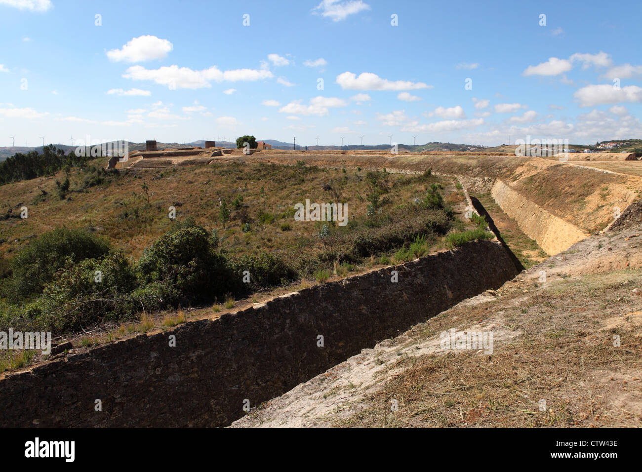 Defensive ditch at Forte de Sao Vicente, one the Lines of Torres Vedras, Portugal. - Stock Image