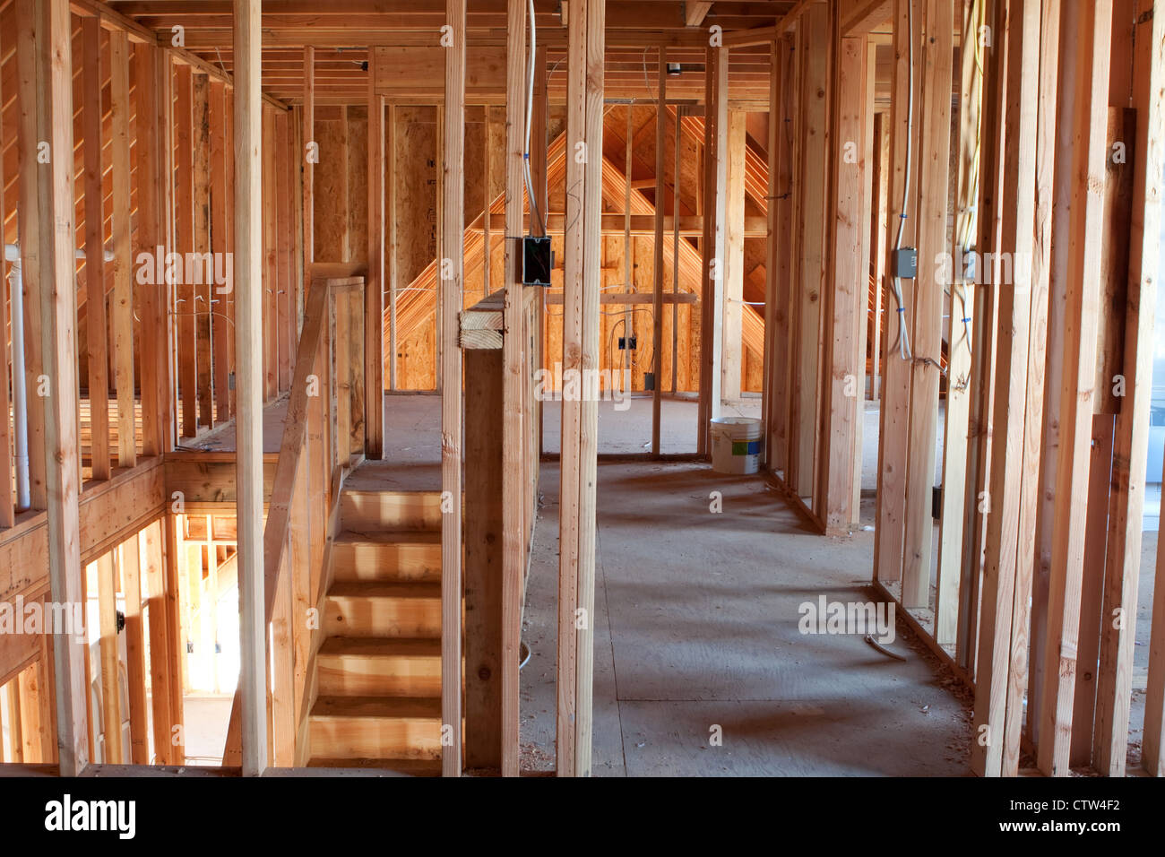 Electrical Wiring Framing Stock Photos Log Home Framed Building Or Residential With Basic And Hvac Complete Image