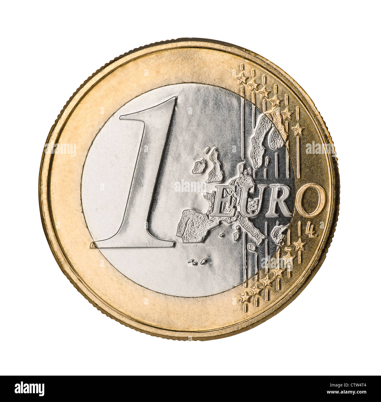 One euro coin isolated on white - Stock Image