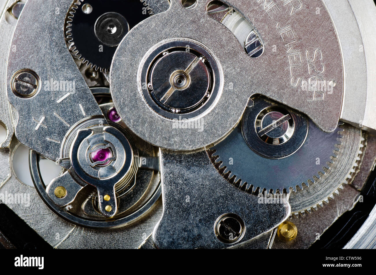 Macro shot of mechanism of wrist watch - Stock Image