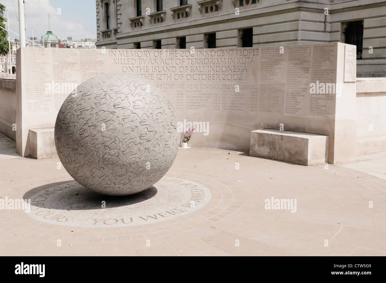 The Bali Bombing Monument by the Churchill War Rooms on Horse Guard Lane by St. James Park. - Stock Image