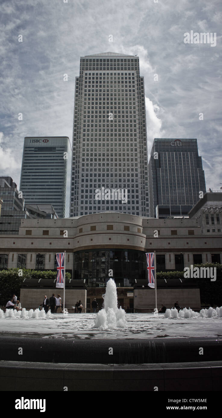The Iconic skyline of London, from the 1980's to present, London's main financial centre in The Docklands - Stock Image