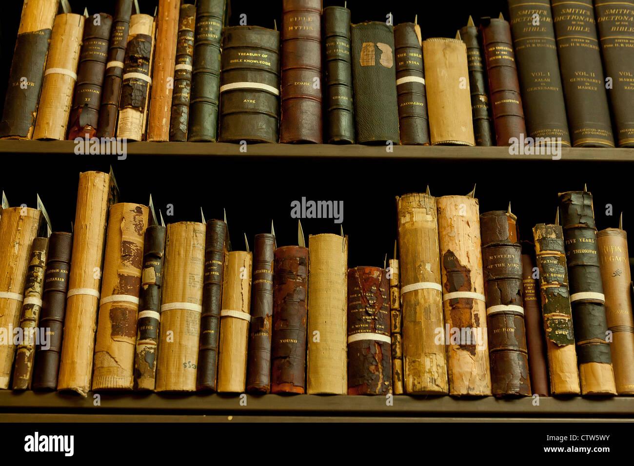 Antique books on shelf - Stock Image